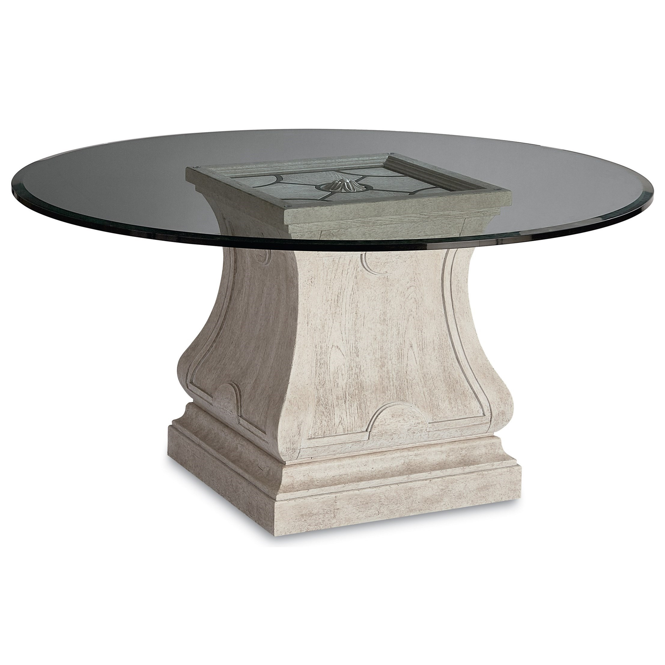"""Arch Salvage Leoni Round Dining Table with 60"""" Glass Top by A.R.T. Furniture Inc at Baer's Furniture"""