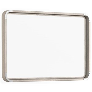 Contemporary Wall Mirror with Rounded Corners and Metal Brackets