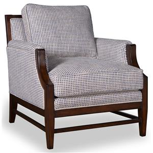 Accent Chair with Tapered Wood Leg and Stretcher