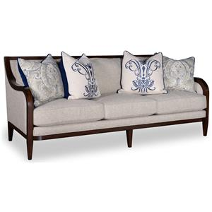 3 Seat Sofa with Tapered Legs and Exposed Wood Arms