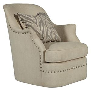 Swivel Chair with Shaped Arms and Nail Head Trim