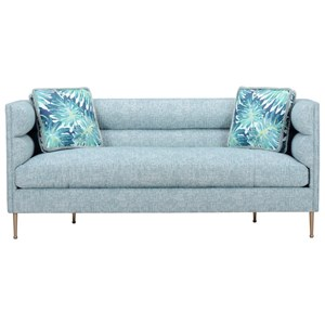 DeCarlo Small Scale Channel Back Sofa with Metal Legs