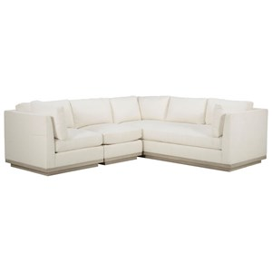 Cruz Three Piece Sectional Sofa with Exposed Wood Plinth Base