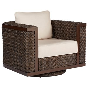Wicker Swivel Rocking Club Chair