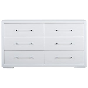 Gloss White Brickell Dresser with Acrylic Drawer Pulls