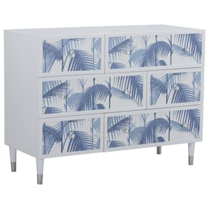 Gloss White Aqua Single Dresser with Blue Palm Drawer Fronts