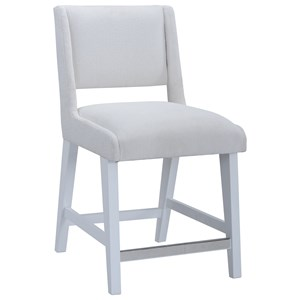 Leia Counter Chair with Performance Fabric and Gloss White Finish