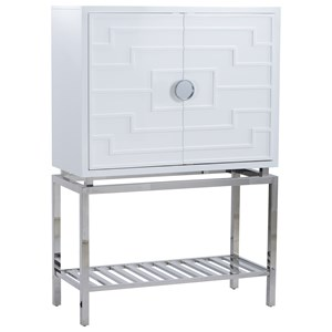Contemporary Marqulies Bar Cabinet in Gloss White with Steel Base