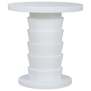 Midtown End Table with Dry Gray Wood Top & Gloss White Pedestal Base