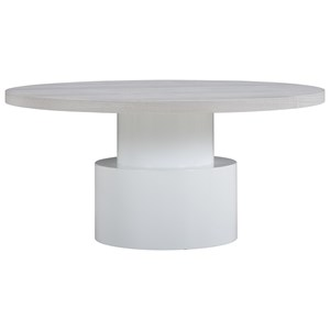 Kai Round Cocktail Table with Glass White Base and Dry Gray Wood Top