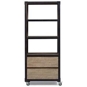 Metal/Elm Veneer Copperfield Bookcase with Casters