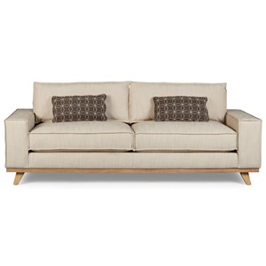 Van Zandt Sofa with Linen-Look Fabric & Down Blend Cushions