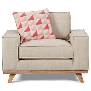 Van Zandt Chair with Linen-Look Fabric & Down Blend Cushions
