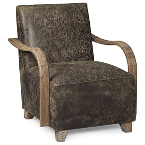 Driskill Chair in Brown Distressed Faux Leather & Exposed Wood Arms