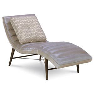 Channel-Tufted Campbell Chaise in Gray Leather