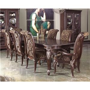 9-Piece Leg Dining Table Set with Upholstered Back Chairs
