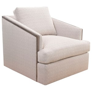 Canyon Swivel Chair with Deep Seat and Exposed Wood Trim