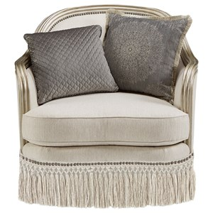 Traditional Upholstered Chair with Down-Blend Seat Cushion