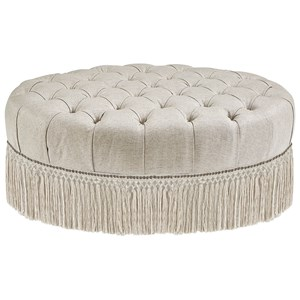 Traditional Oval Cocktail Ottoman with Fringe Skirt and Tufted Top