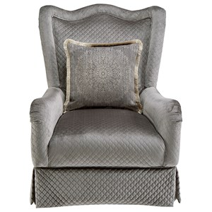 Traditional Skirted Accent Chair with English Arms