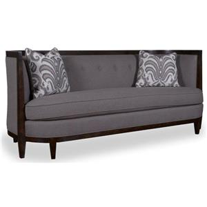 "Transitional 84"" Sofa with Wood Trim, Shelter Arms, and Bench Seat Cushion"