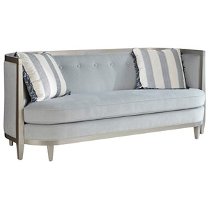 """Transitional 84"""" Sofa with Wood Trim, Shelter Arms, and Bench Seat Cushion"""