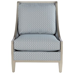 Wood Frame Accent Chair with Swoop Arms