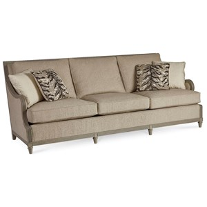 Stuart Sofa with Square Back and Wood Trim