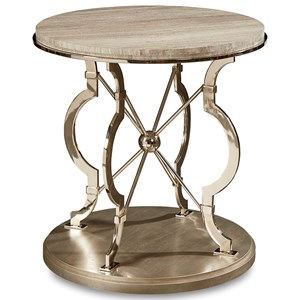 Yeats Round Lamp Table with Marble Top