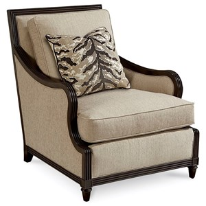Stuart Accent Chair with Square Back and Wood Trim