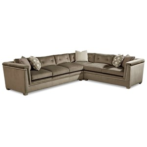 Mani Transitional 3 Piece Sectional Sofa with Silver-Painted Trim