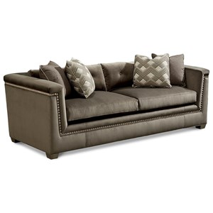 Mani Transitional Sofa with Silver-Painted Trim