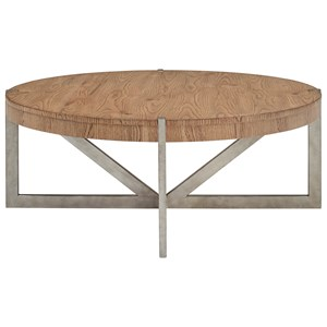 Metal/Wood Round Cocktail Table
