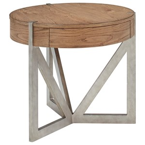 Round End Table with Drawer and Metal Base