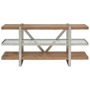 Metal/Wood Media Console with Glass Shelf