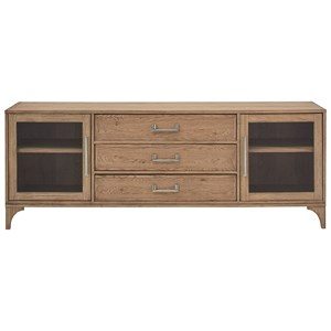 Media Cabinet with Glass Doors and Light Oak Finish