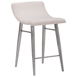 Contemporary Upholstered Counter Stool with Metal Base
