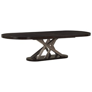 Contemporary Oval Dining Table with Pedestal