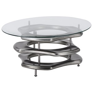 Contemporary Cocktail Table with Metal Base