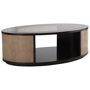 Contemporary Two-Toned Oval Cocktail Table