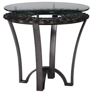 Contemporary Lamp Table with Metal Base