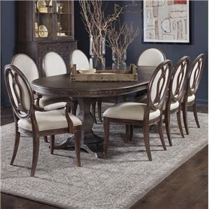 9-Piece Double Pedestal Dining Table Set with Arm Chairs & Side Chairs