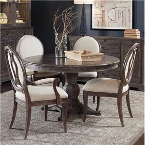5-Piece Round Dining Table Set with Arm Chairs & Side Chairs