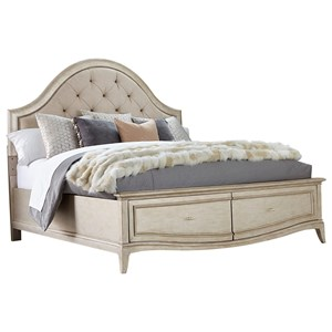 Queen Upholstered Panel Bed with Storage in Metallic Paint Finish