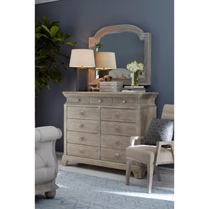 Relaxed Vintage 11 Drawer Dresser and Mirror Set with Distressed Finish