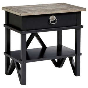 Relaxed Vintage Bedside Table with USB Port