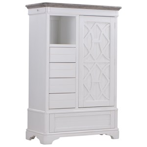 Relaxed Vintage Armoire with Touch Lighting and a Mirrored-Back Door