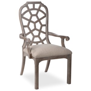 Relaxed Vintage Arm Chair with Stain-Protected Fabric