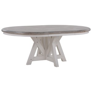 "Relaxed Vintage Round Dining Table with 24"" Leaf"