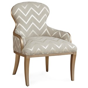 Glam Maron Accent Chair with Golden Wood Finish and Chevron Fabric